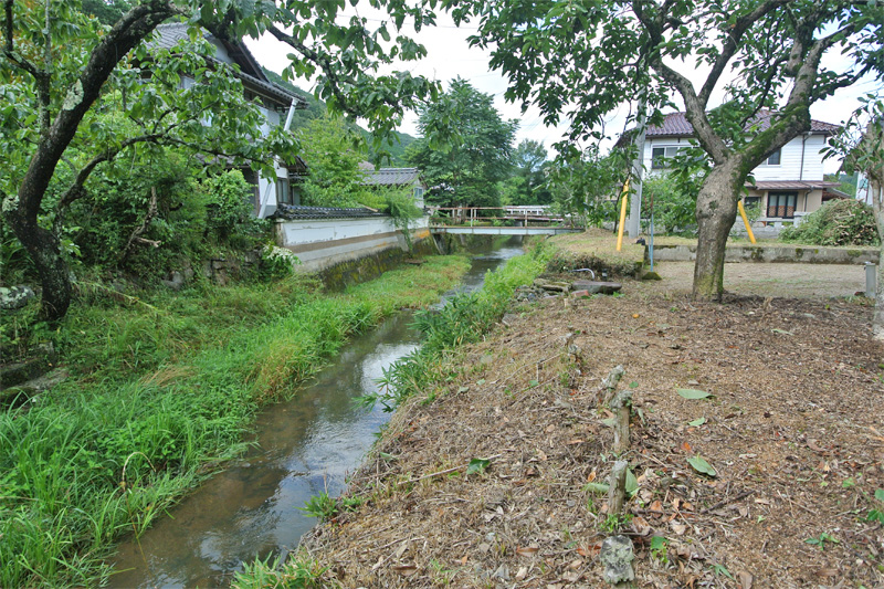 敷地沿いを流れる小川